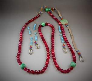 qing-dynasty antique red tourmaline bead necklace