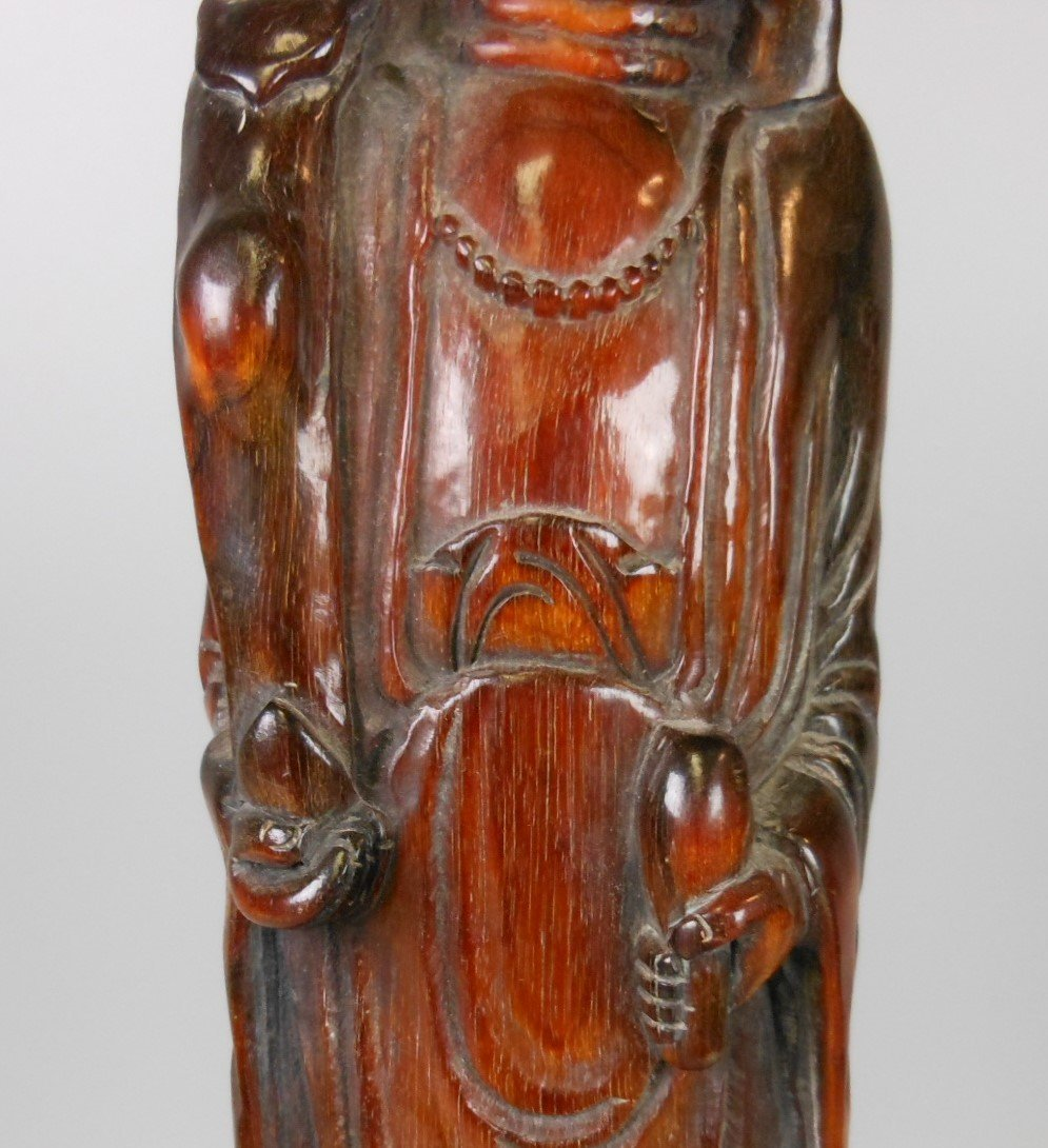 A Chinese carved horn Guanyin - 6