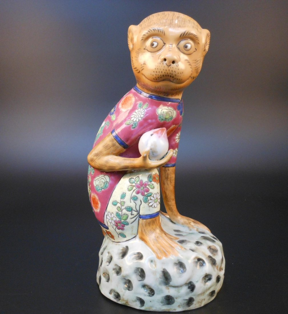 A Chinese famille rose porcelain monkey and peach - 2