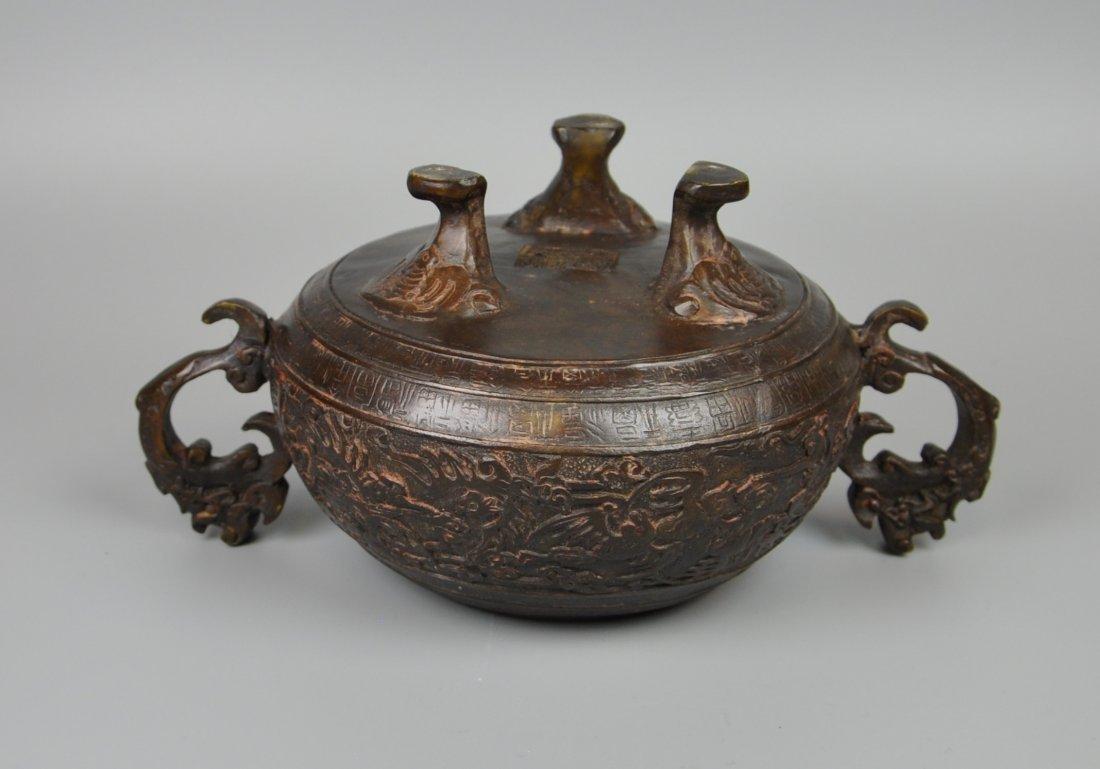 A Chinese antique bronze censer - 7