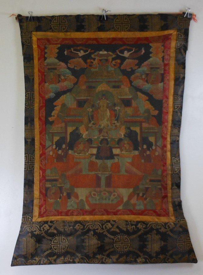 Antique sino-tibetan painted tangka