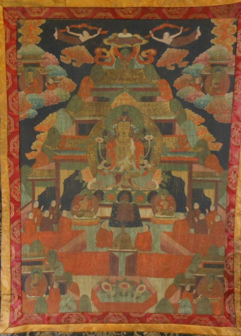 Antique sino-tibetan painted tangka - 2
