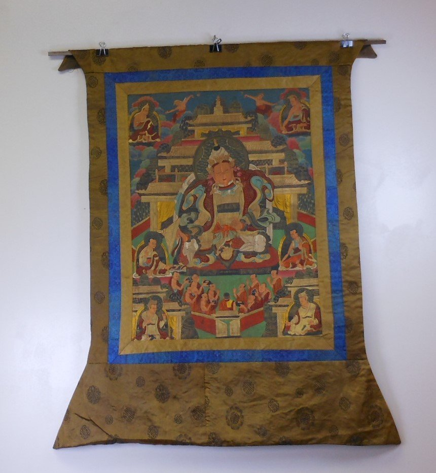 Antique sino-tibetan painted tangka