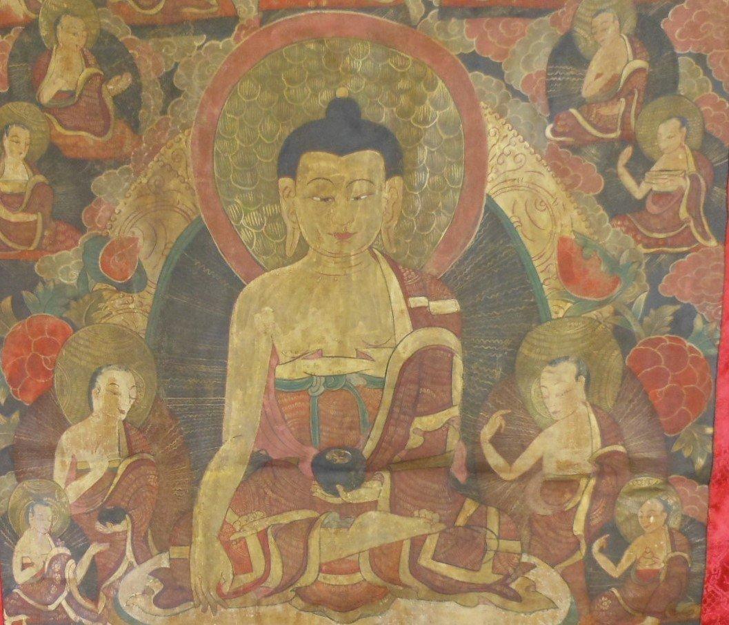 Antique sino-tibetan painted tangka - 3
