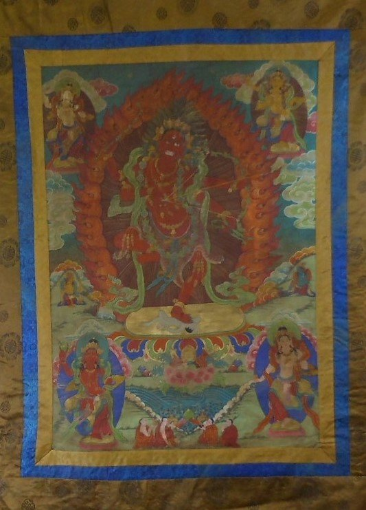 Antique sino-tibetan painted tangka - 2