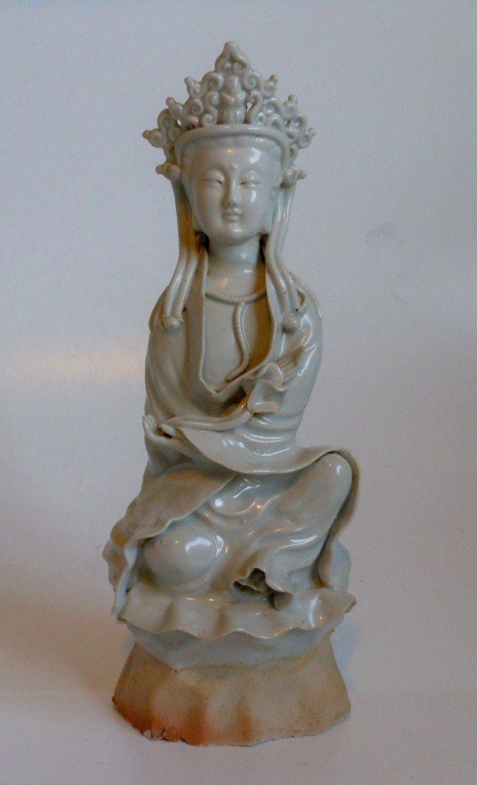 A Chinese antique celadon porcelain Guanyin