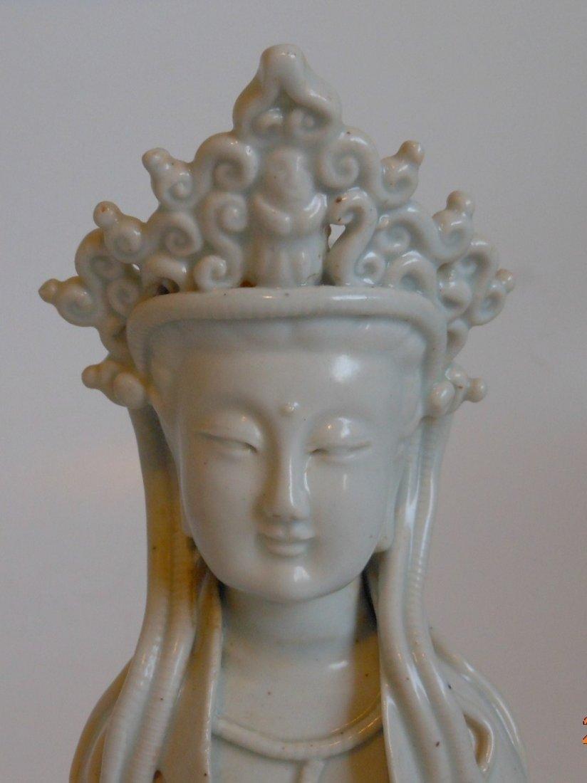A Chinese antique celadon porcelain Guanyin - 4