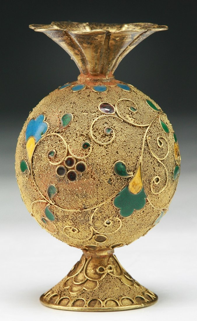 A Chinese unusual gilt vase