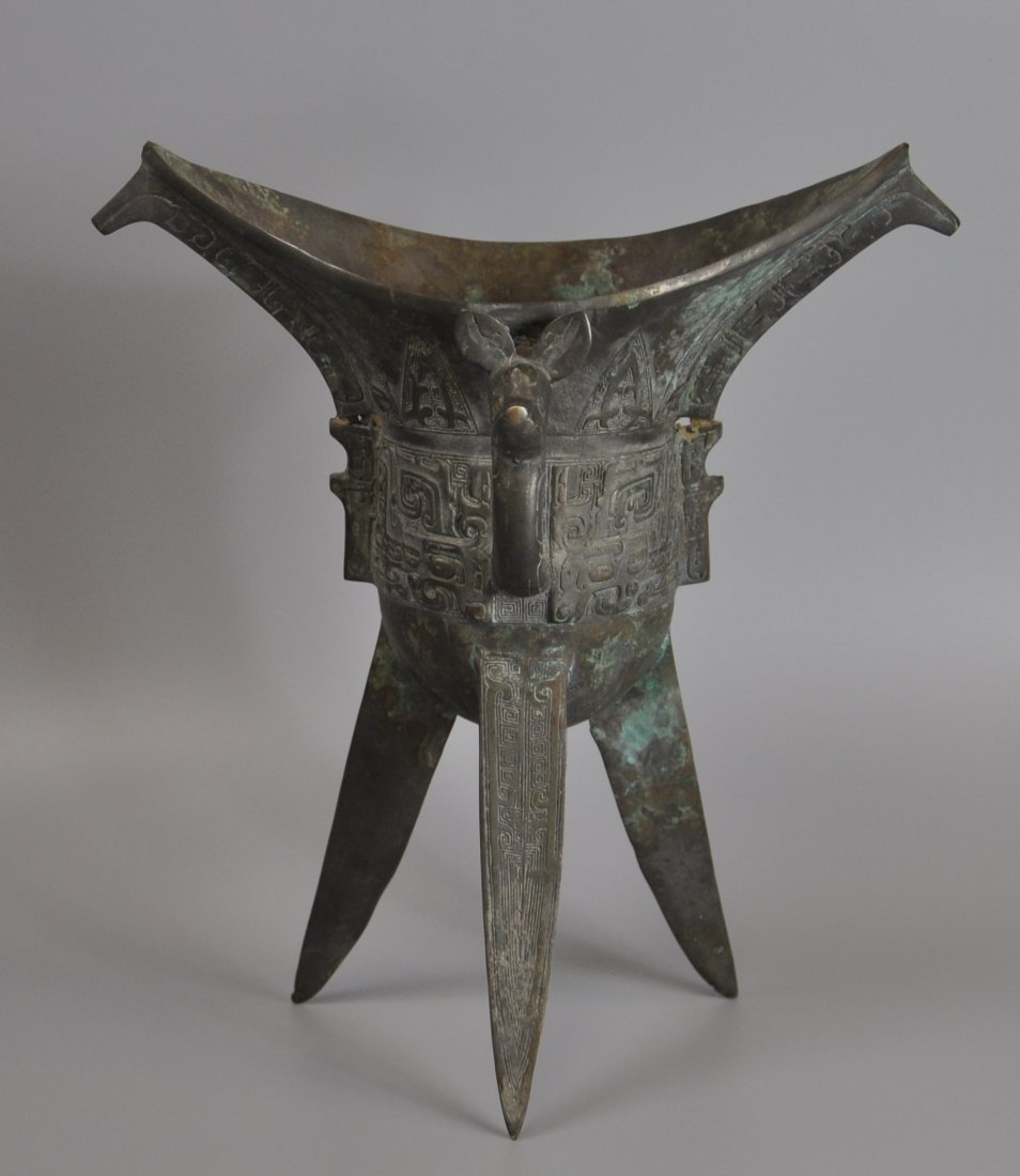 A Chinese antique zhou-dynasty Bronze jue