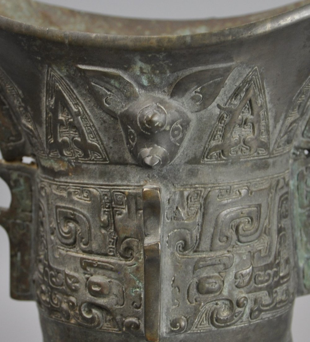 A Chinese antique zhou-dynasty Bronze jue - 7