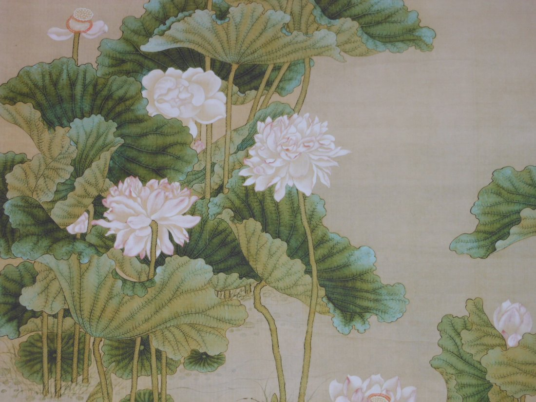 A Chinese color painting on silk scroll - 4