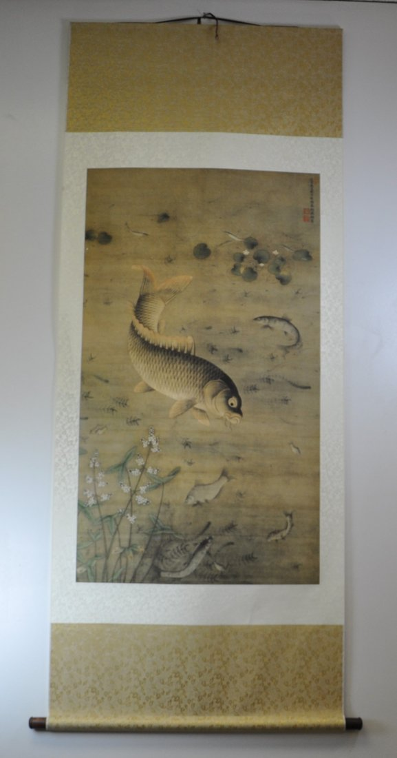 A Chinese color painting on silk scroll