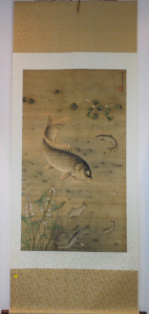A Chinese color painting on silk scroll - 2