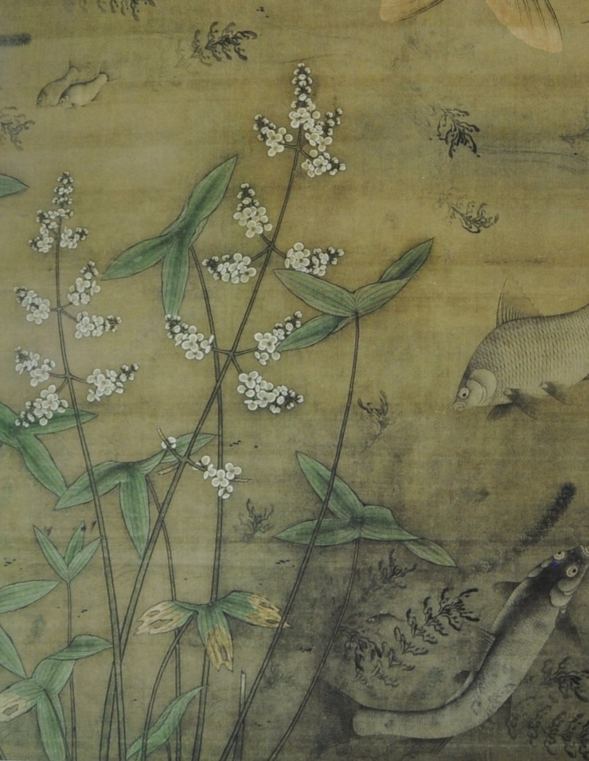A Chinese color painting on silk scroll - 5
