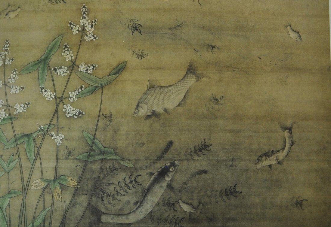 A Chinese color painting on silk scroll - 6