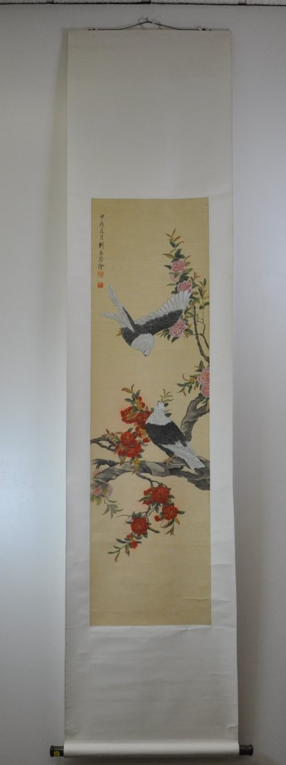Chinese color painting on silk scroll