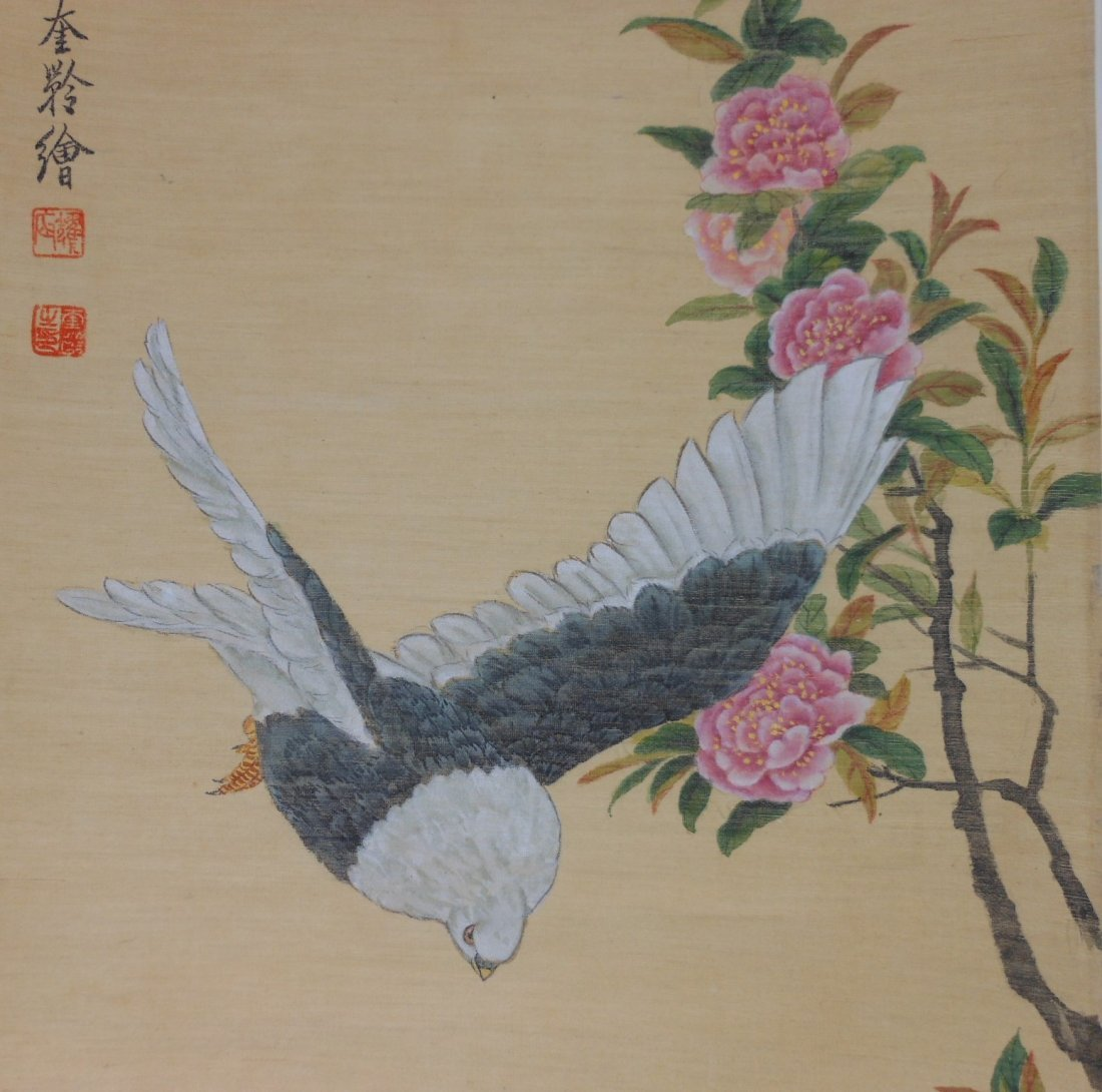 Chinese color painting on silk scroll - 4