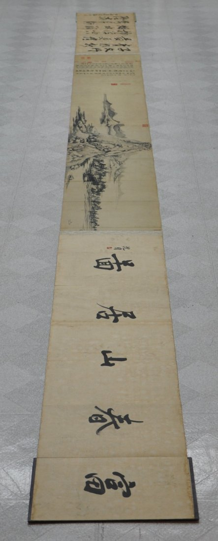 A Chinese antique color painting paper scroll