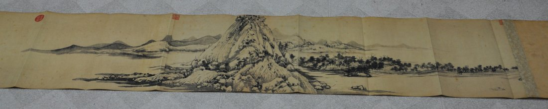 A Chinese antique color painting paper scroll - 3