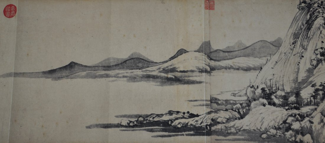 A Chinese antique color painting paper scroll - 7