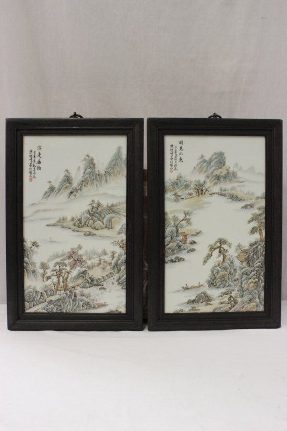 2 Chinese 20th century enameled porcelain plaque