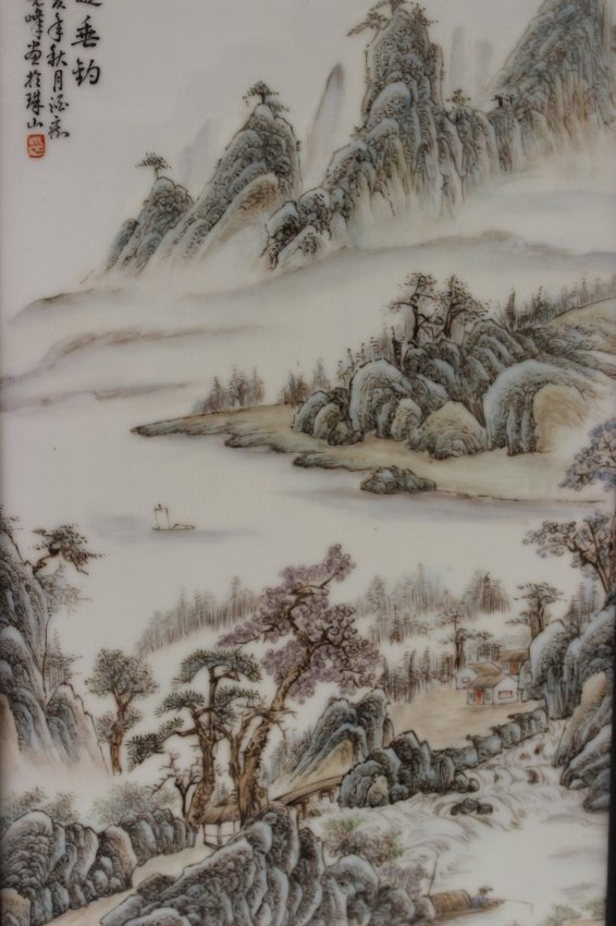 2 Chinese 20th century enameled porcelain plaque - 2