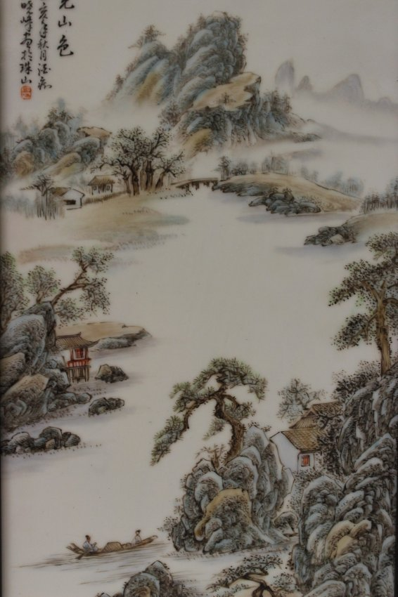 2 Chinese 20th century enameled porcelain plaque - 6