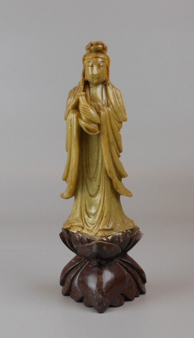 A Chinese soapstone carved Guanyin