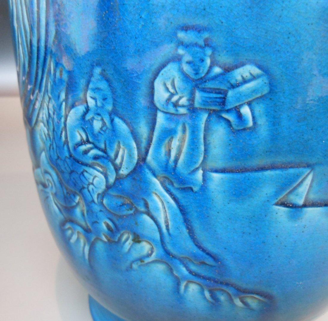 A Chinese antique cobalt blue monochrome porcelain vase - 5
