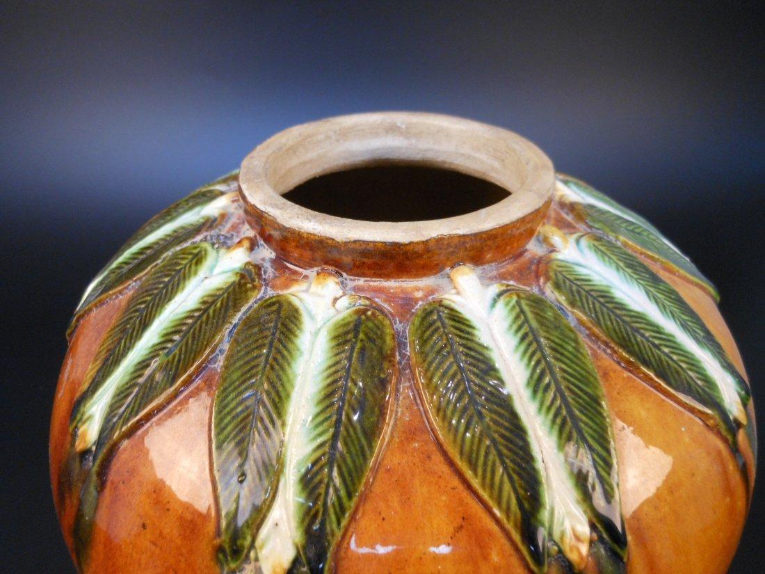 A Chinese sancai pottery jar, 22cm H - 2