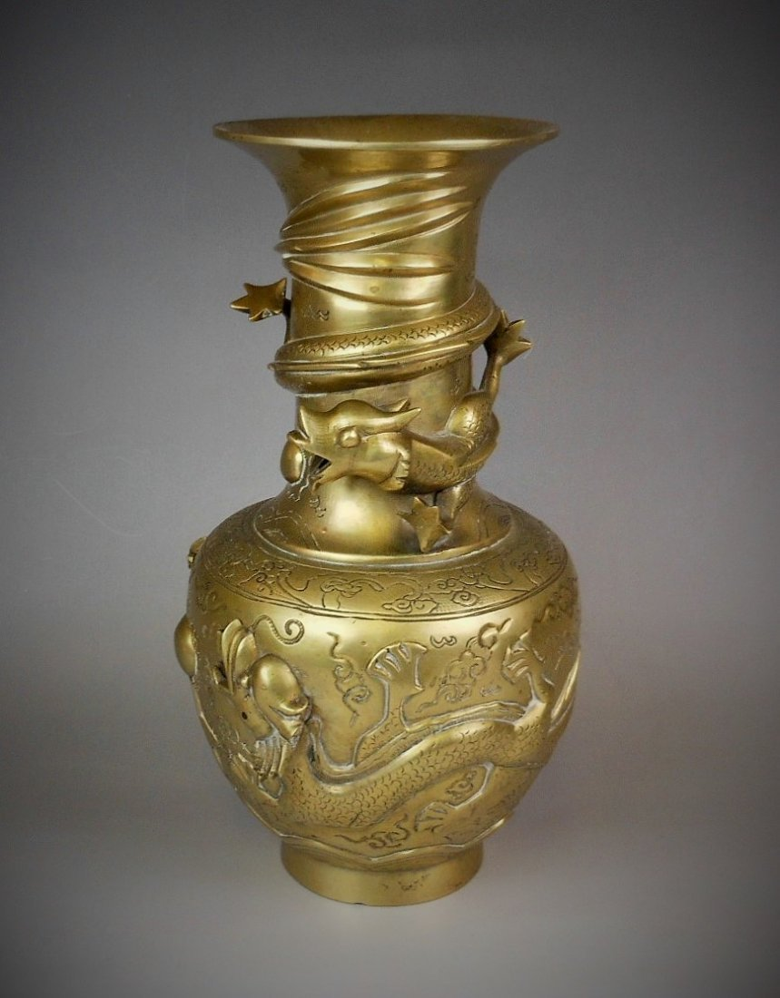 A Chinese antique bronze vase  carved with dragon
