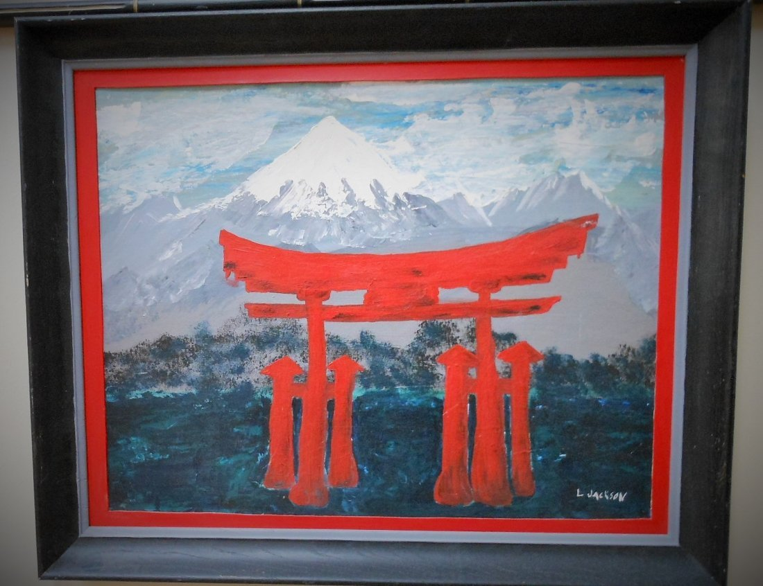"A Japanese frame oil painting,  By ""L JACKSON"""