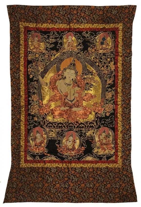 A Chinese qing-dynasty sino-tibetan tangka