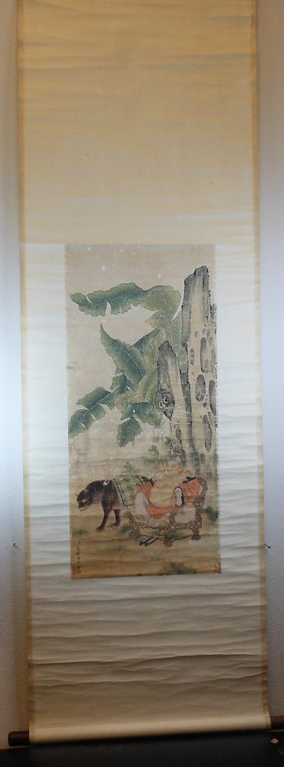A Chinese archaic color painting paper scroll