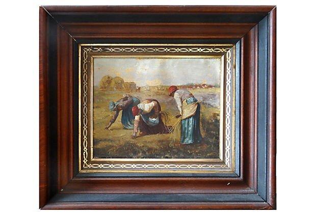 Small 19th-C. Field Scene Oil Painting Slaves Black Art