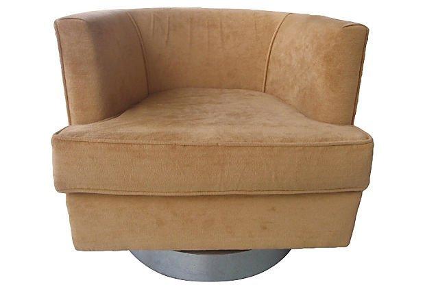 Baughman Style Mid-century Modern Swivel Club Chair