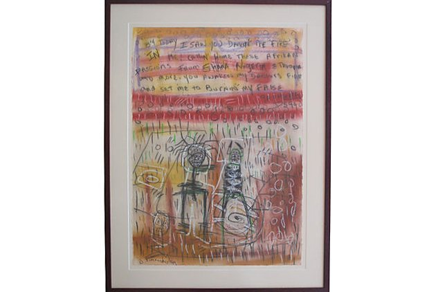 Danny Simmons Neo African Abstract Mixed Media