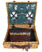 Vintage English Wicker Picnic Set Service for Six