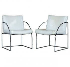 Thayer Coggin Milo Baughman Chrome Chairs - A Pair
