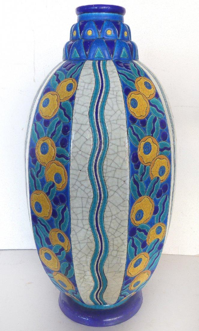 Longwy French Art Deco Monumental Vase C. 1925-1930