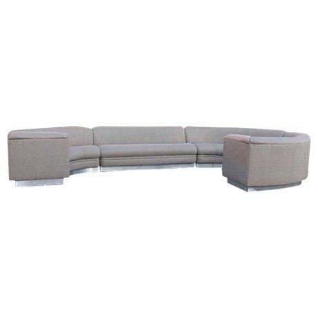 XL Rounded Sectional Sofa w/ Chrome Base