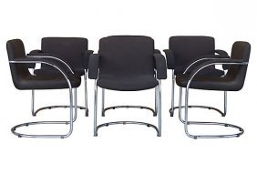 6 Mid-century Chrome Dining Chairs By Saporiti Italia