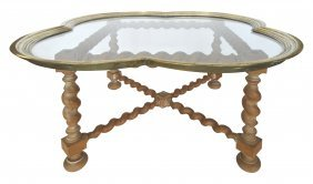 Brass Quatrefoil Tray Table On Stand