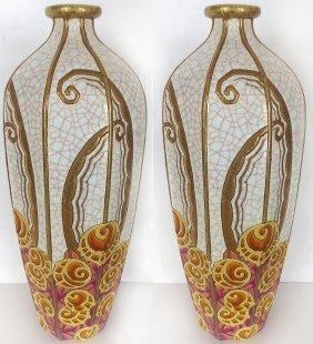 1920's Art Deco Longwy Ceramic Vases, Pair