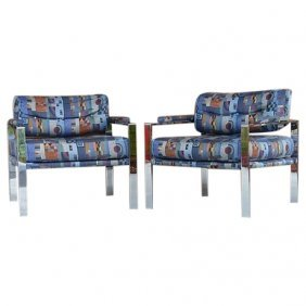 Milo Baughman Style Chrome Club Chairs
