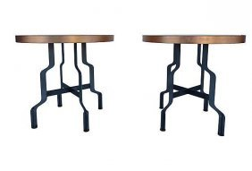 Industrial Steel Tables With Copper Leaf Tops, Pair