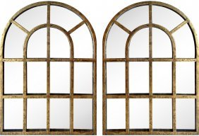 Gilt Metal Arched Mirrors, Pair