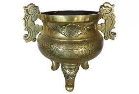 Heavy Asian Brass Planter W/ Handles