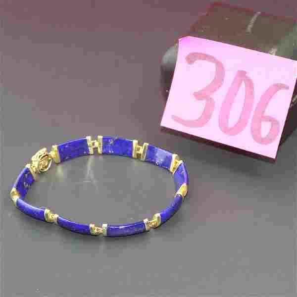 14K Yellow Gold Lapis Lazuli Bracelet Chinese Symbol