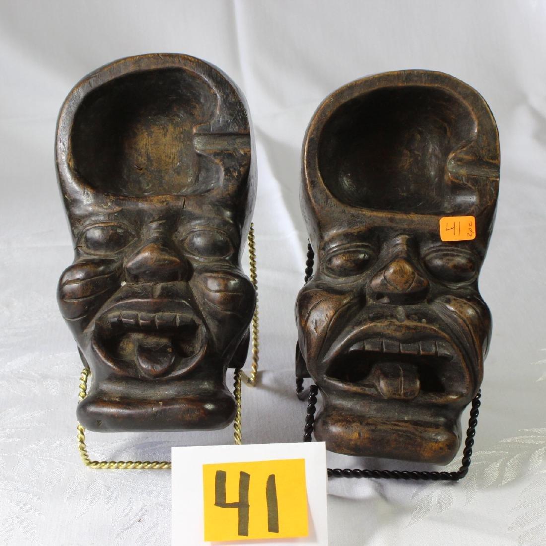 2 Tribal Folk Art Carved Face Ashtrays Indonesia